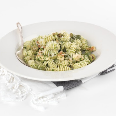 Arugula Pesto Pasta with Chicken and Castelvetrano Olives