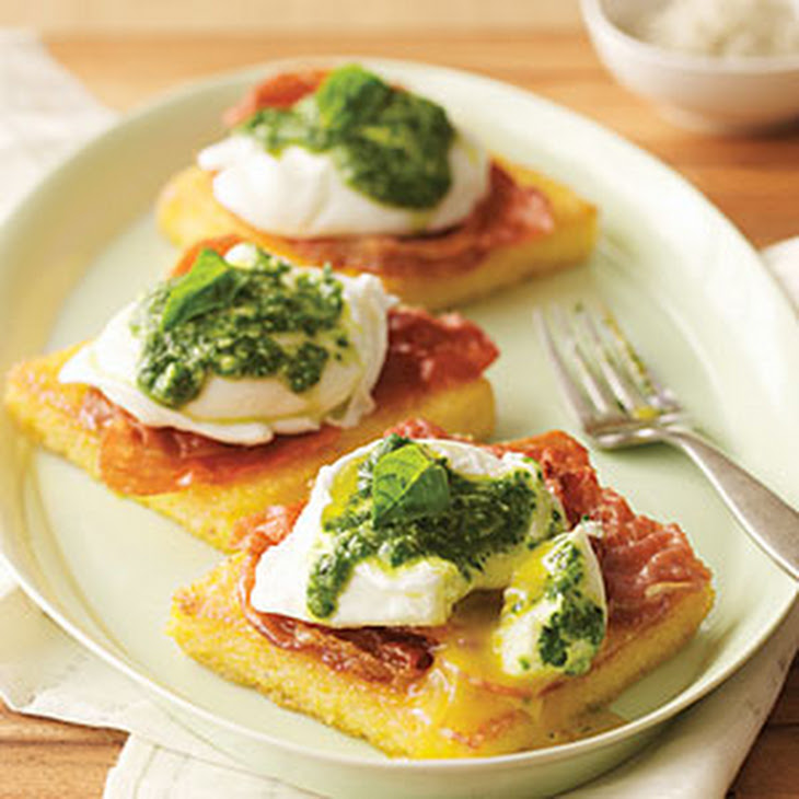 Uova Benedetto (Poached Eggs on Polenta with Pesto and Crisp Prosciutto)