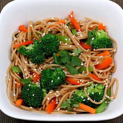 Whole Wheat Noodles with Peanut Sauce and Vegetables