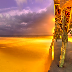 Surfside Pier during Storm by Cathie Crow - Buildings & Architecture Bridges & Suspended Structures ( piers, night photography, outdoors, surfside pier, myrtle beach )