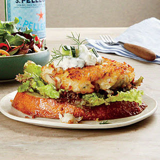 Open-Faced Crab Cake Sandwiches with Tzatziki