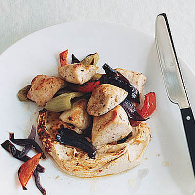 Pepper Chicken with Hummus