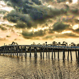 Rain is on the way by Diane Clontz - Novices Only Landscapes ( waterscape, california, dark clouds, storm clouds, bridge )
