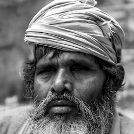 Gazing in the void  by Rajesh Kumar Gupta - People Portraits of Men ( look, black and white, gaze, old man, blind )