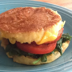 Inside Out Egg Sandwich (with Spinach, Tomato, Cheddar, and Canadian Bacon)