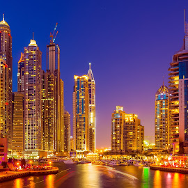 Dubai Marina - Night Shot by Gejoo Joseph - Buildings & Architecture Office Buildings & Hotels ( water, skyline, blue, dubai, uae, dubai marina, marina )