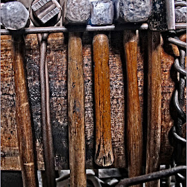 Mystic Hammers by Raquel Gonzalez - Artistic Objects Other Objects ( blacksmith, mystic seaport, hammers )