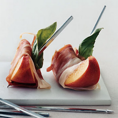 Peaches with Serrano Ham and Basil