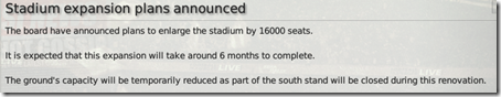 In 6 months I will get the +40% of stadium capacity