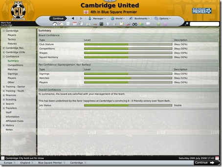 Football manager 2009 Board Confidence
