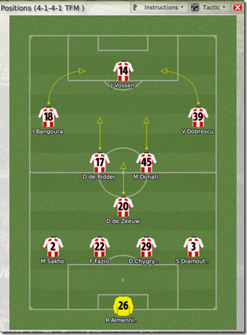The current first squad on the tactics screen looks in the following way now