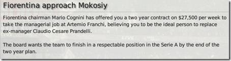 Fiorentina suggestion of job, FM 2008