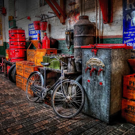 The Garage by Phil Robson - City,  Street & Park  Markets & Shops ( oily, bike, beamish, garage, old signs )