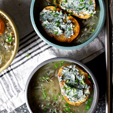 Vidalia Onion Soup with Wild Rice and Blue Cheese