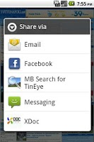 Screenshot of MB Search for TinEye