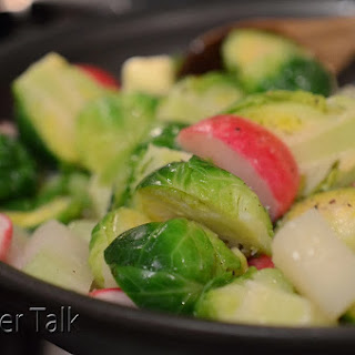 Butter-Braised Radishes, Kohlrabi, and Brussels Sprouts