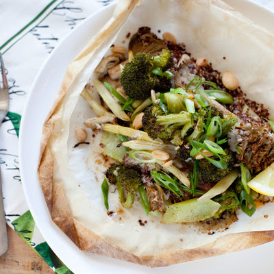 Quinoa with Wild Mushrooms, Wax Beans & Broccoli en Papillote