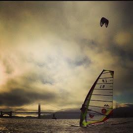 #goldengatebridge #kiteboarding #hydrofoil #windsurfing #thebay #California #crissyfield #sanFrancisco by Mendel Rice - Sports & Fitness Watersports