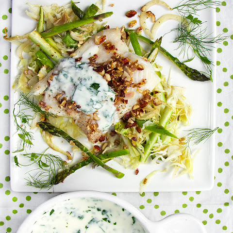 NORDIC HADDOCK ON SHREDDED VEGETABLES with ALMOND GREMOLATA