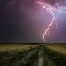 Only Once by Grant Meyer - Landscapes Prairies, Meadows & Fields ( field, canon, lightning, 2013, road, landscape, t2i, the palouse,  )