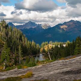 Mount Baker Washington by Bill Kuhn - Landscapes Mountains & Hills ( artist point, hills, mountain, lake, evergreen trees, mount baker )