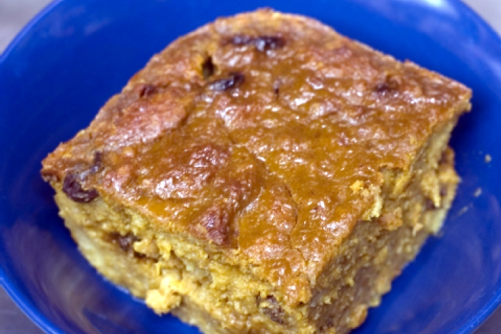 Pinto Raisin Bread Pudding with Apples and Cheese