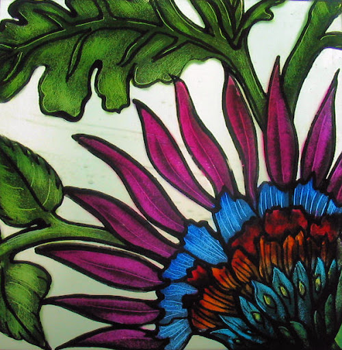 A beautiful glass paint is ready. Glass Painting-Colourful Russian Flower