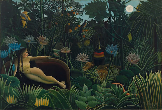 "From MoMA.org: Although Rousseau completed more than twenty-five jungle paintings in his career, he never traveled outside France. He instead drew on images of the exotic as it was presented to the urban dweller through popular literature, colonial expositions, and the Paris Zoo. The lush jungle, wild animals, and mysterious horn player featured in this work were inspired by Rousseau's visits to the city's natural history museum and Jardin des plantes (a combined zoo and botanical garden). Of his visits the artist said, ""When I am in these hothouses and see the strange plants from exotic lands, it seems to me that I am entering a dream."" The **** model in this painting reclines on a sofa, mixing the domestic and the exotic.  Listen to a kids audio program about this painting at: http://www.moma.org/explore/multimedia/audios/3/2146"