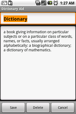 Droid Dictionary Plugin