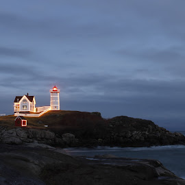 Nubble Lighthouse  by Jenna Pettipas - Buildings & Architecture Other Exteriors ( christmas lights, lighthouse, nubble lighthouse )