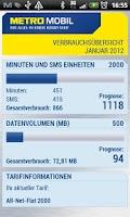 Screenshot of METROMOBIL Verbrauchsübersicht