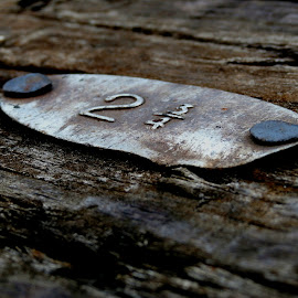 2 and 3/4 by Cheyanne Howlett - Novices Only Abstract ( sign, 2, train tracks, wood, numbers, grey, brown, plaque, 3/4, nails,  )