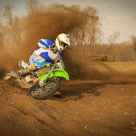 Dust by Kenton Knutson - Sports & Fitness Motorsports ( roost, motocross, racing, mx, dirt bike, kawasaki, 450f )