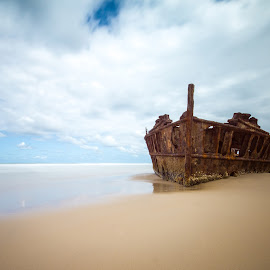 Maheno Shipwreck by Christian Holzinger - Transportation Boats ( ship wreck, australia, fraser island, beach, maheno, , water, device, transportation )