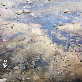 Broken by Chris Duffy - Abstract Patterns ( clouds, abstract, broken, sky, ice, frozen lake, frozen )
