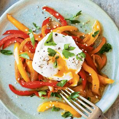 Poached Eggs with Sweet Pepper Pipérade