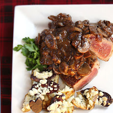 Steak With Drunken Mushrooms & Roasted Blue Cheese Potatoes
