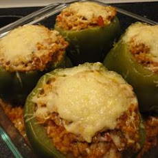 Green Bell Peppers stuffed with Tomato Lentil Couscous