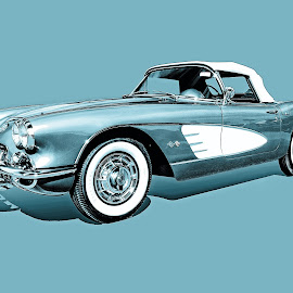 59 corvette by Jon Cody - Transportation Automobiles ( car, corvette, vintage, teal, classic,  )