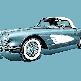 59 corvette by Jon Cody - Transportation Automobiles ( car, corvette, vintage, teal, classic, , selective color, pwc )