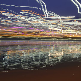 Lights over the lake by Ilan Abiri - Abstract Light Painting ( exposure, abstract, movement, lake, light )