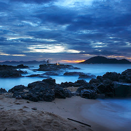 Blue Hour by Dany Fachry - Landscapes Beaches ( bluehour, west kalimantan, indonesia, sea, beach, seascape, seaside, landscape )