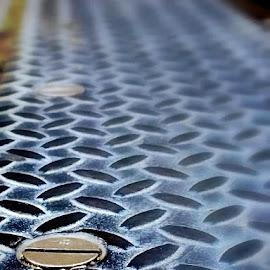 City Sidewalk Seam by Tricia Scott - City,  Street & Park  Street Scenes ( michigan avenue, ground, nut, grid, chicago, sidewalk )