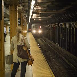 Waiting for the Subway by Gary Kuhlmann - Transportation Trains ( subway, train, manhattan, tracks, new york, new york city, Urban, City, Lifestyle )