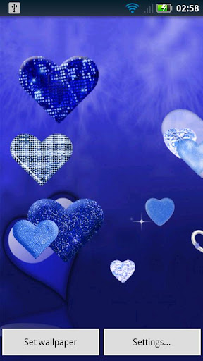 Blue Sparkle Hearts