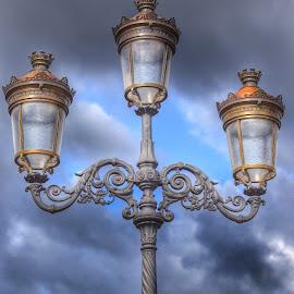 Dublin Clouds by Ruud van der Weel - City,  Street & Park  City Parks ( clouds, lantern, ireland, dublin, bridge )