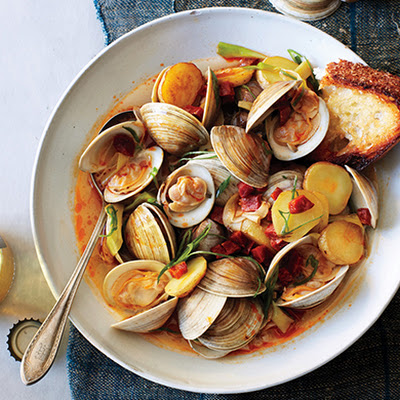 Littleneck Clams with New Potatoes and Spring Onions