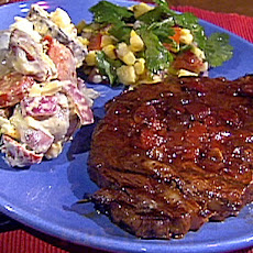 Grilled Balsamic-Marinated Rib-Eyes with a Balsamic Barbecue Sauce