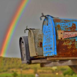 RAINBOW MAIL by Drew Mackey - Landscapes Travel ( blue, colorado, mail box, pagosa springs, rainbow )
