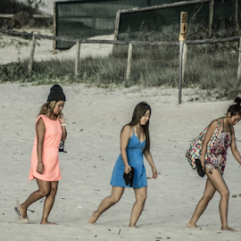 Leaving the Beach by Petra Bensted - People Street & Candids ( girls, walking, ladies, candid, fun, beach, street photography, friends, gold coast, currumbin, three, summer, trio )